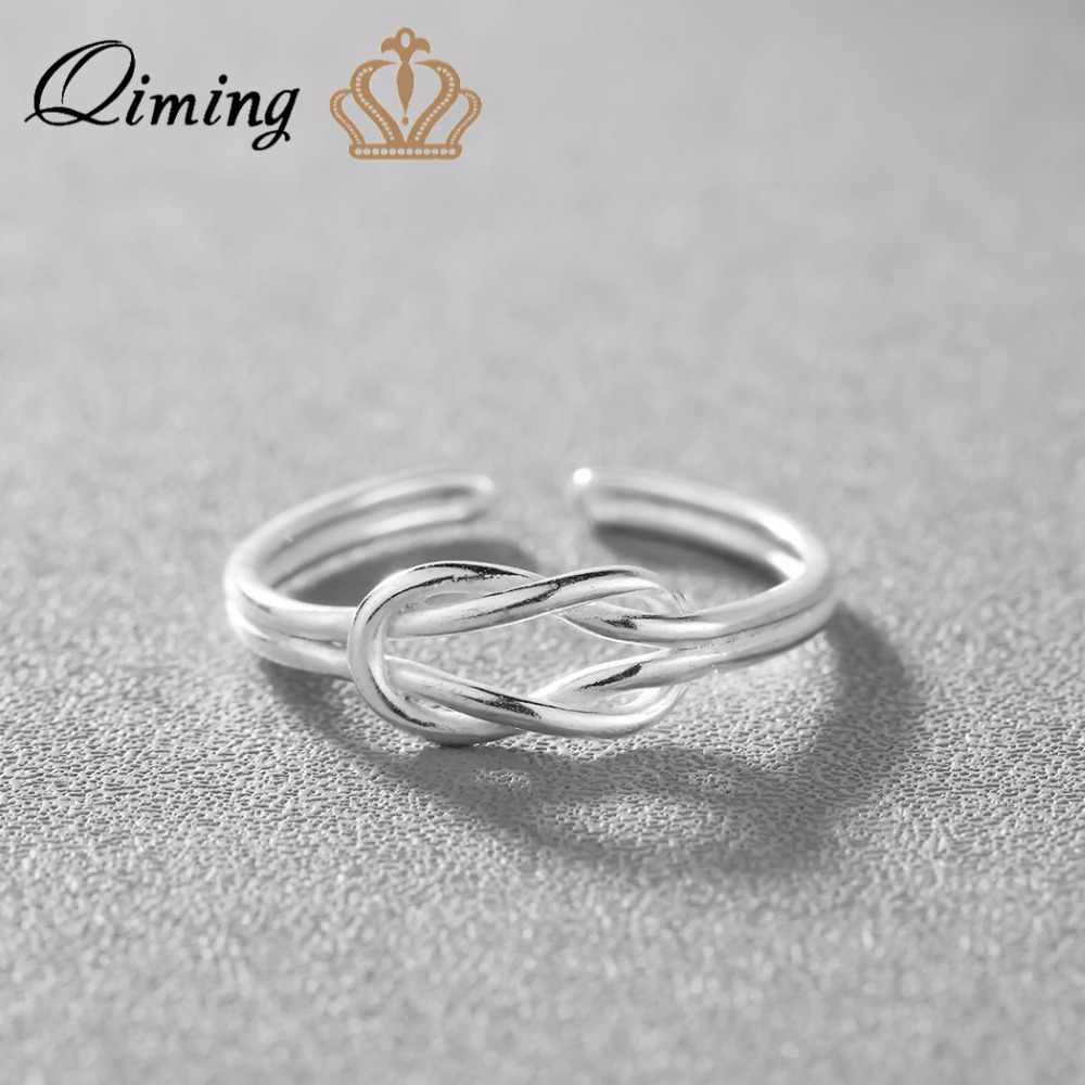 QIMING 2018 New Silver Simple Ring Adjustable Size 100% Solid Silver Rings for Women Jewelry Accessories