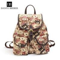 DANNY BIEBER Women Canvas Backpack Drawstring School Bags for Teenagers Girls Rucksack Vintage Female Pull Rope Travel Backpack