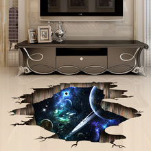Creative 3D Stereo Wall Sticker Space Galaxy Planets DIY PVC Home Children Room Floor Decoration Decal Amazing 2019 Hot