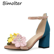 Bimolter Bohemia Flowers Ankle Strap Sandals Fashion Women Sheepskin Heels Shoes Summer Womens Wedding Party Woman NB144