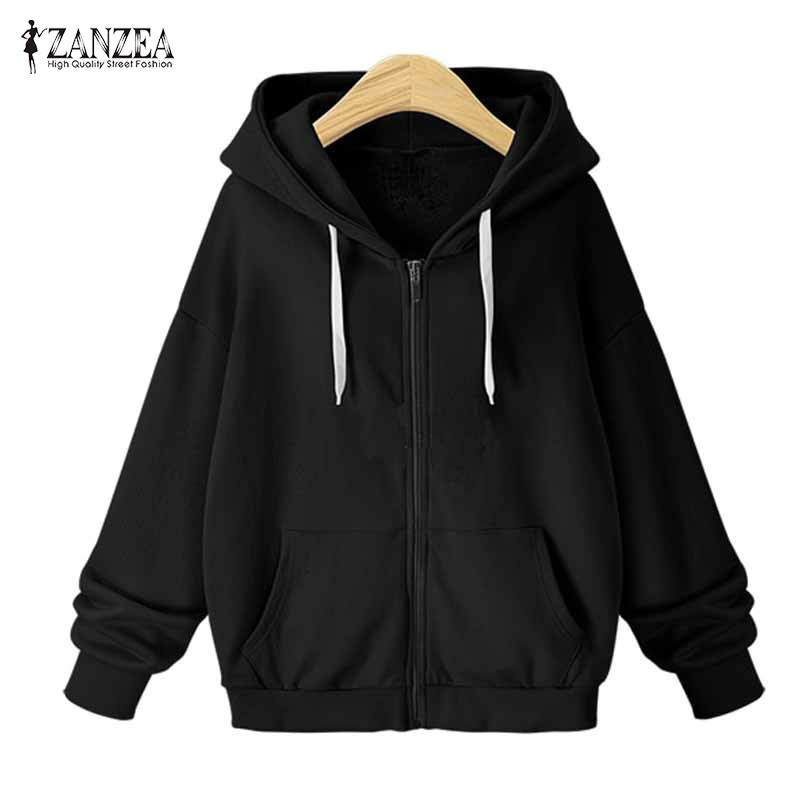 Plus Size ZANZEA Winter Warm Hooded Long Sleeve Drawstring Coat Casual Solid Zip Up Sweatshirt Women Loose Jacket Outwear 2018