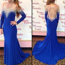 Royal Blue Chiffon Formal Evening Dresses 2017 Full Long Sleeve Crystal Women Evening Gowns Mermaid Prom Gowns Back Open Custom