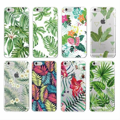 Hojas de los árboles tropicales summer floral moda soft tpu del teléfono impreso