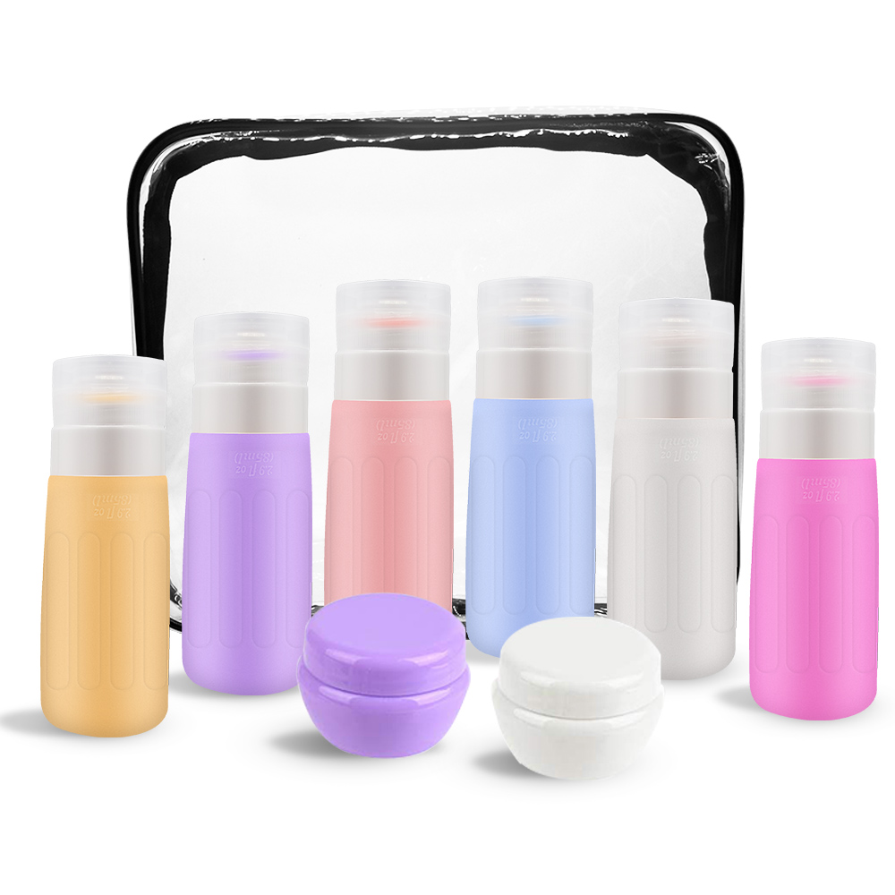 8Pcs/Set Travel Bottle Set Refillable Silicone Empty Cosmetic Face Cream Lotion Cosmetic Bottle Shampoo Soap Bottle Container