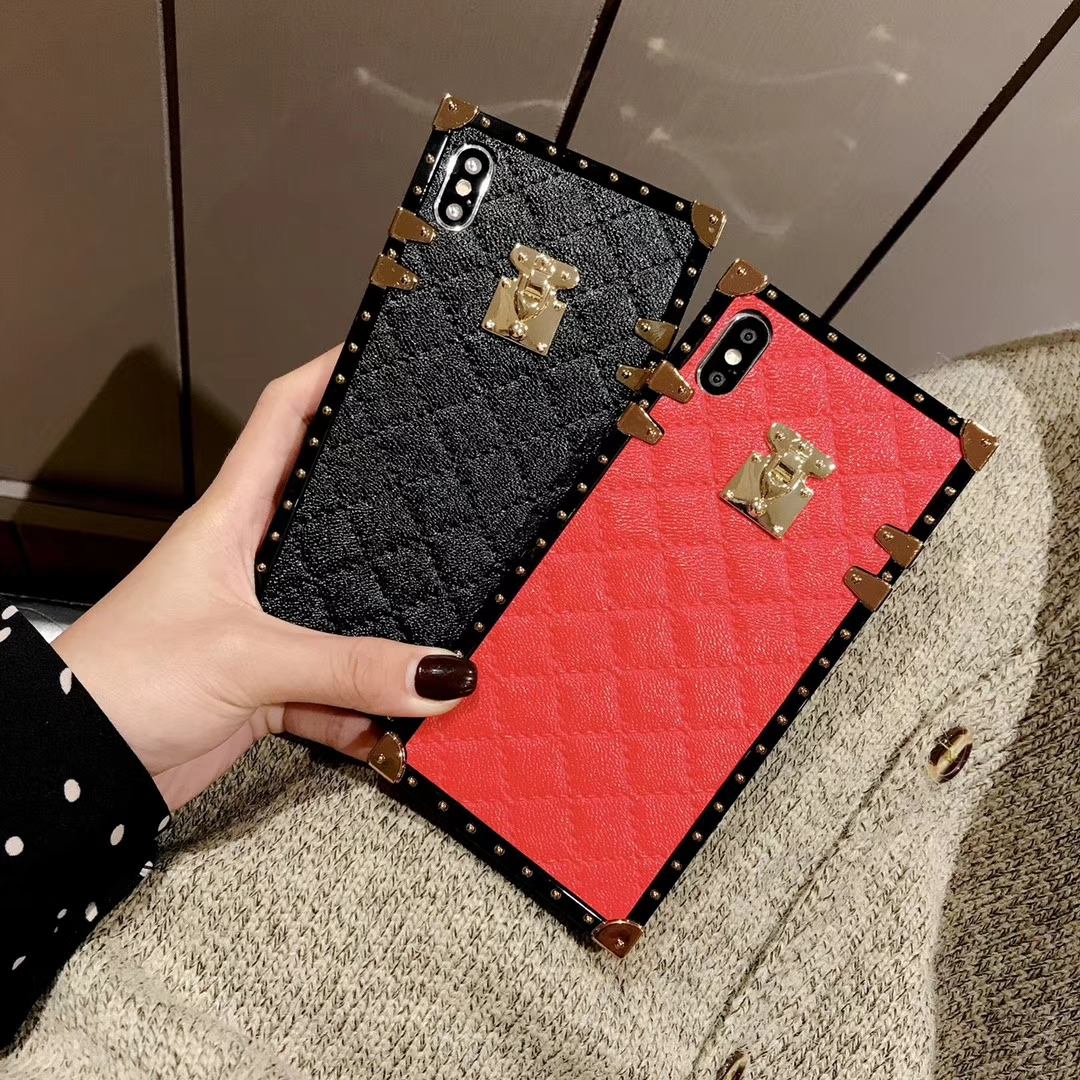 HTB1RhIUX6DuK1Rjy1zjq6zraFXaV Soft Lambskin PU Leather Cases For iPhone 11 Pro X XR XS Max 8 7 Plus Square Plaid Cover For Samsung Galaxy S9 S10 Plus Note 10