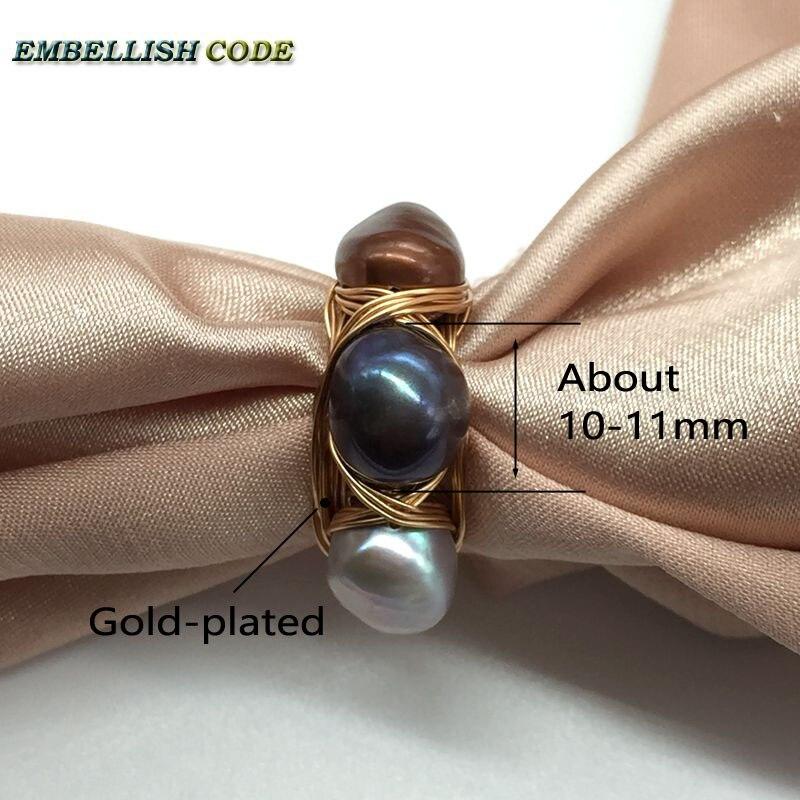 Nouveau design nid d'oiseau style petite taille baroque perles gris paon marron café couleur avec fil d'or main faire anneau - 5