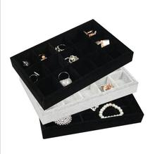 LAN LIN jewelry display tray gray & black velvet receive tray fashion Jewelry Display Show Case earring receive 15 girds storage