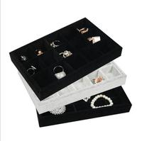 Hot Selling Jewelry Display Tray Gray Black Velvet Receive Tray Fashion Jewelry Display Show Case Earring