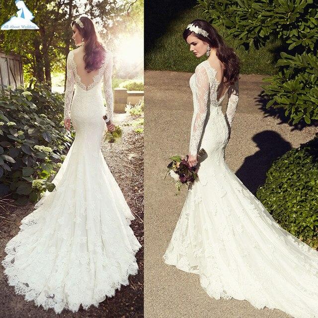 bare back lace mermaid wedding dresses lace chapel train long sleeve designer style custom make factory