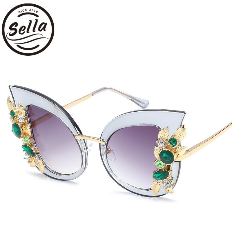 Sella de moda de las mujeres de gran tamaño de ojo de gato gafas de sol de acrílico diamante colorido de las señoras elegantes gafas de sol de verano de moda