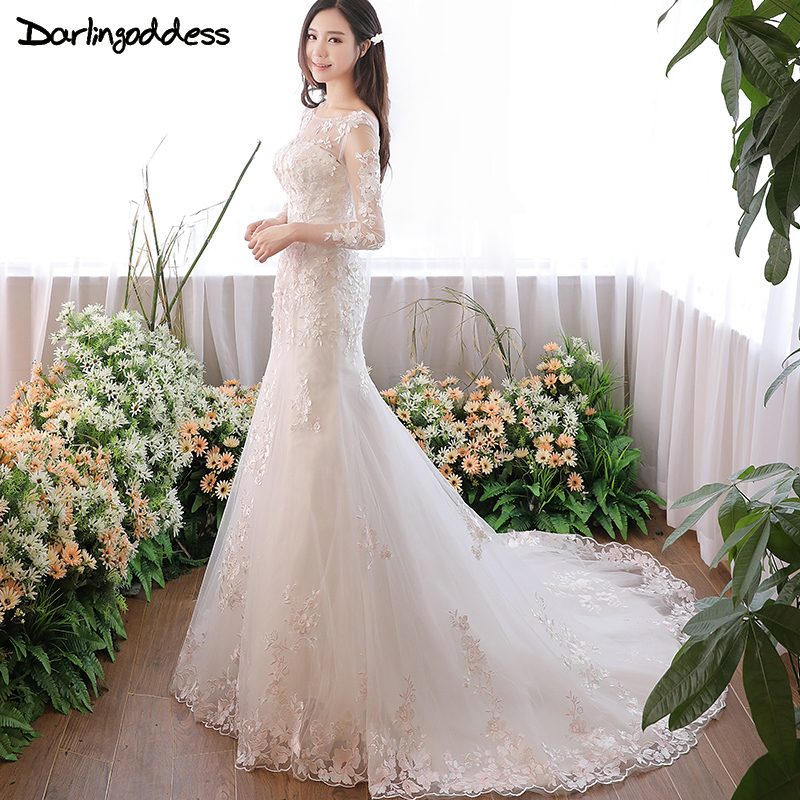 Vintage Lace Mermaid Wedding Dresses Long Sleeve Ruffles Appliques Luxury Sexy Wedding Gowns 2017 Vestido De Noiva Real Photos