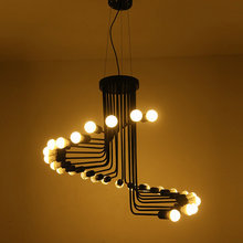wongshi Retro Black 16/26Heads Iron Pendant Lamp Creative Cafe Bar Restaurant LOFT Spiral Staircase DIY E27 Spider Pendant Ligh(China)