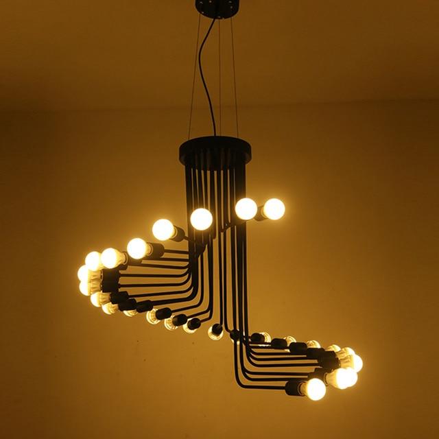 wongshi Retro Black 16/26Heads Iron Pendant Lamp Creative Cafe Bar Restaurant LOFT Spiral Staircase  DIY E27 Spider Pendant Ligh