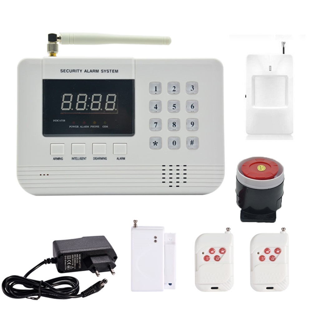 (1 set) Home security 433MHz SIM GSM PSTN dual network Alarm System PIR Detector Door Sensor fire smoke anti burglar ключницы petek 2543 46b kd1