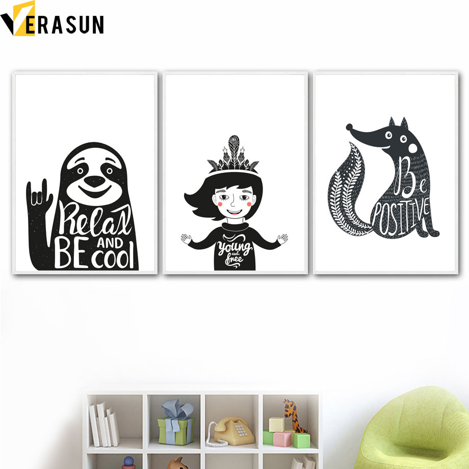 Cartoon Smile Girl Sloth Fox Bear Quotes Wall Art Canvas Painting Nordic Posters And Prints Animal Wall Pictures Kids Room Decor in Painting Calligraphy from Home Garden