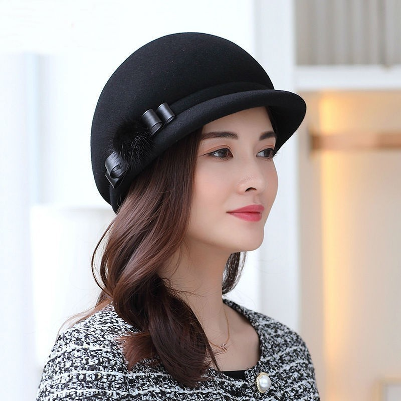 Mother Gift Lady Autumn And Winter Banquet Woolen Cloche Hats Woman Party  Formal Fedora Hat Top Quality 100% Wool Felt Hat -in Fedoras from Apparel  ... dc77486be120