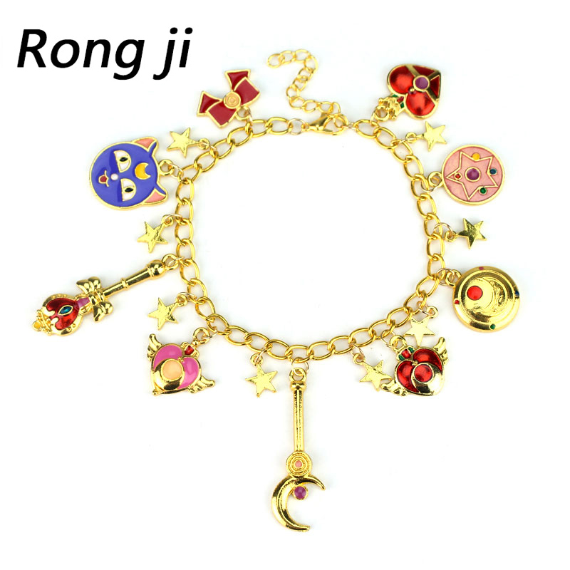 Sailor Moon Star Crystal Bracelet & Bangle Totoro Gravity Falls pantera negra Enamel Stars Pentacle Charms Anime Jewelry