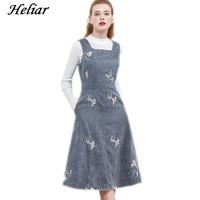 HELIAR 2019 Spring Women Dress Grey Corduroy Dress Female Thick Soft Floral Embroidered Dress Elegant Spaghetti Dress For Women