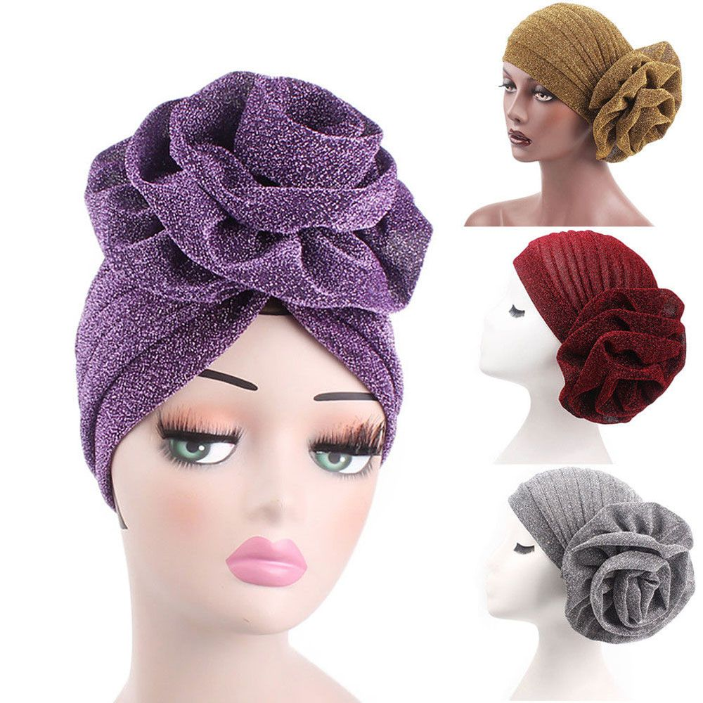 NewWomen India Muslim Stretch Bright Thread Floral Turban Hat Head Wrap Cap Hats For Women Chapeu Feminino Festival Touca