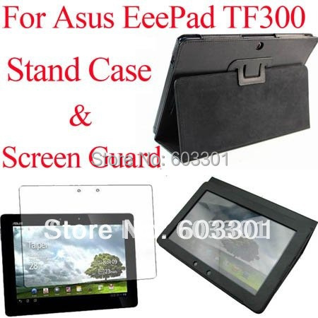 For Asus Transformer Pad TF300 Stand case and Screen Guard Film, For Asus TF300TG TF300T TF300 Cover Bag & screen protector