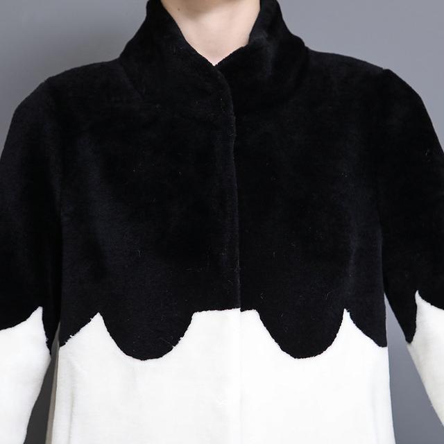Natural sheep fur overcoat patchwork sheared lamb