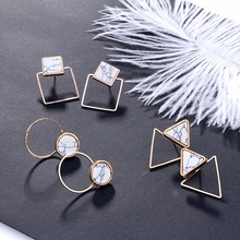 Geometric Stud Earrings For Women Black White Marble Triangle Square Round Hollow Metal Earrings Simple Jewelry Party Pendientes