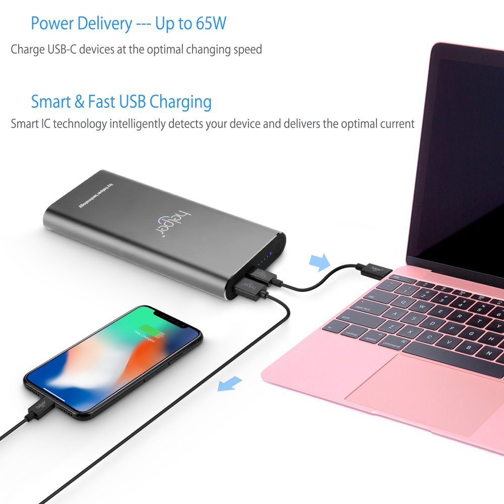лучшая цена 20V 2.25A 3.25A 45W 65W Power bank PD+QC with USB Type-C Input / Output and QC Output for Macbook DELL XPS USB Type-C Laptops