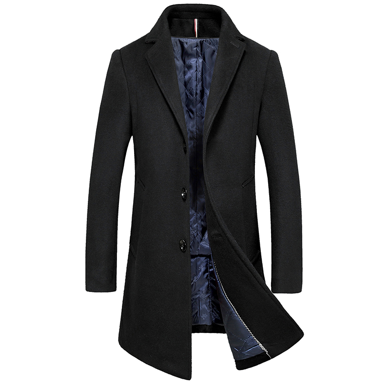 Long-Trench-Jacket Casual Blends Woolen Coat/men's Autumn Winter Fashion New And Lapel