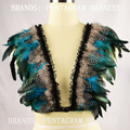 feather bra,rave bralette,Top Cage Bondage,Gypsy Lingerie,boho rave bra, honeymoon,festival wings and cage harness,dance costume