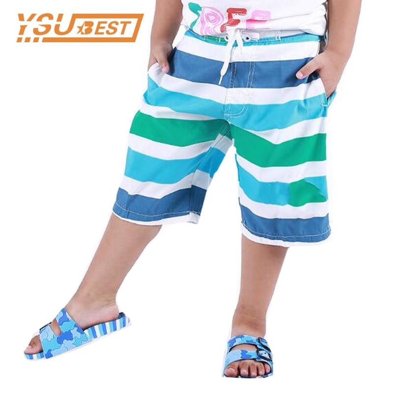 2019 Summer Plus Size Boys Beach   Shorts   Kids Surf For Swimwear Fashion Stripe Boys Swim Surfing   Shorts   Board Quick Dry Silver