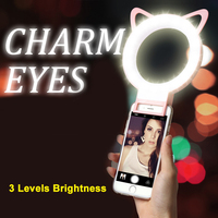 Charm Eyes Smartphone LED Ring Selfie Light Night Darkness Selfie Enhancing Photography For IPhone 5
