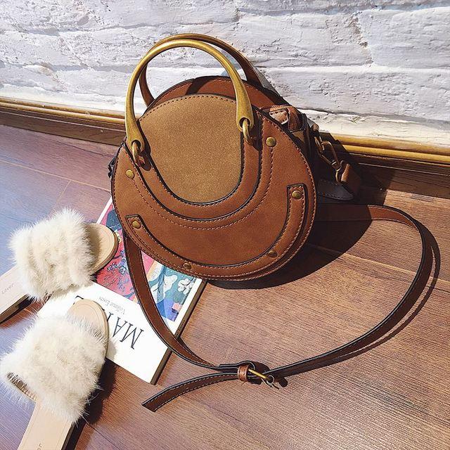 LJL Circular Scrub PU Leather Women Bags Retro Handbag Small Round Women Shoulder Mini Bag 2