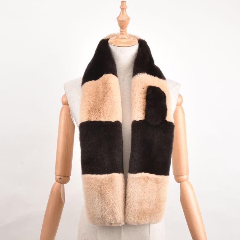 L'europe a frappé la couleur automne et d'hiver collier de couleur combo couleur chaud châle 100% importé Rex lapin echarpes femme spéciale