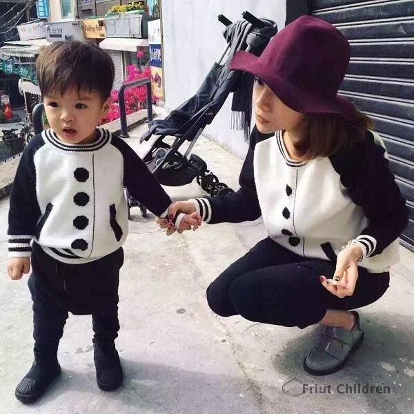 ins* newest 2016 baby kids baseball pattern cotton knitted sweaters boys & girls & mom spring autumn top sweater high quality