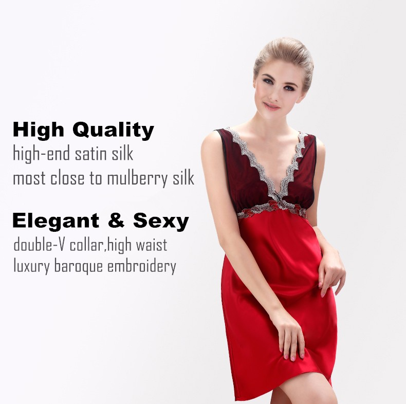 High quality silk satin nightgowns