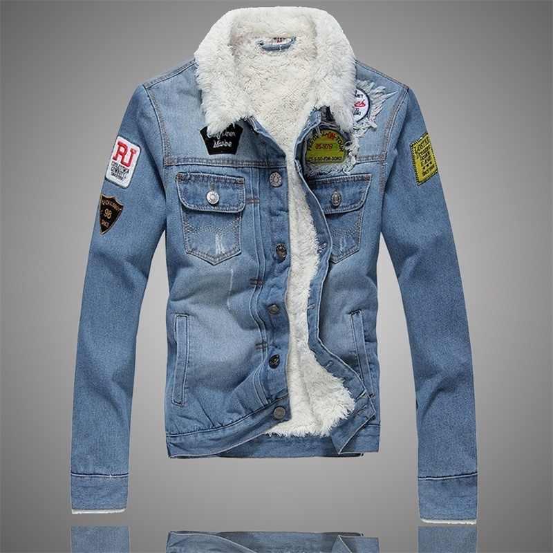 男性のジャケットやコートトレンディ暖かいフリースデニムジャケット 2019 冬ジーンズジャケット厚い冬コート古典的な固体上着