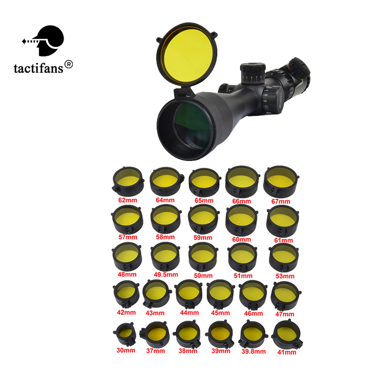 TACTIFANS See Thru Flip Up Amber Lens Cover Open Hunting Caliber Rifle Scope 28 Sizes Airsoft Paintball Army Game Accessories