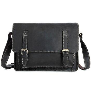Messenger Bag Men Genuine Leather Real Cow Leather Flap Vintage Designer Handbag Student Bag For Tablet Laptop