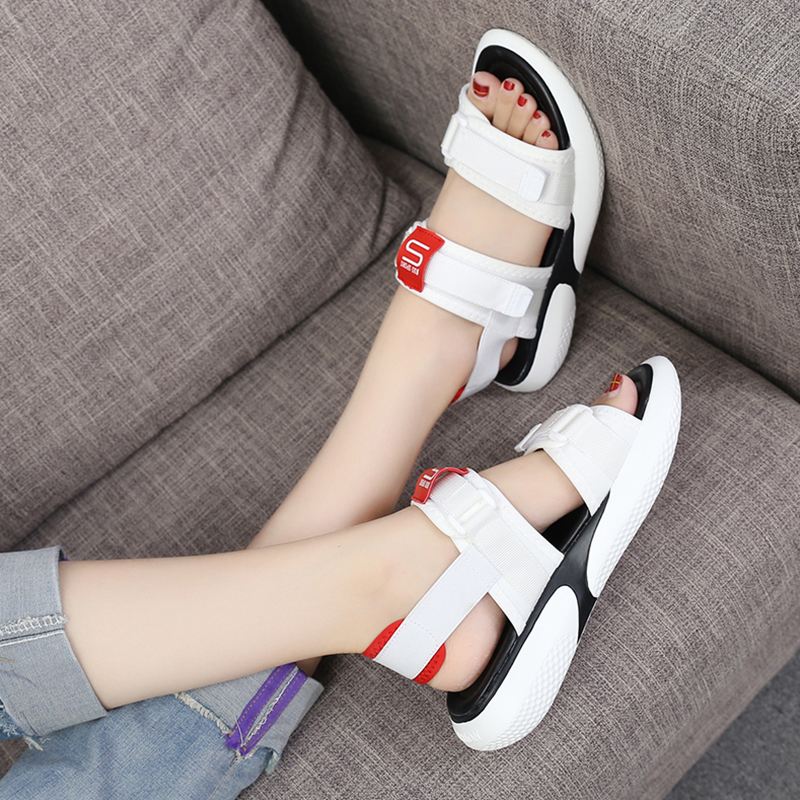 Summer 2018 new flat sandals female students wild magic stickers casual shoes. 56