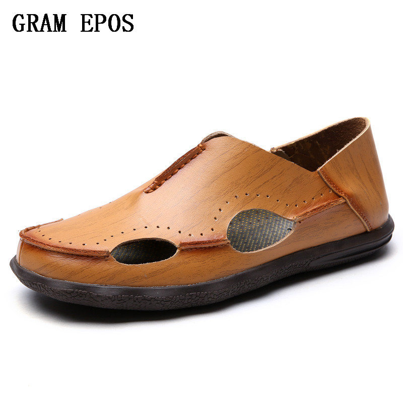 GRAM EPOS Arrival Water Shoes Beach Sandals Male Lightweight Breathable Leather Shoes Comfort Fashion Lace-Up Causal Men Sandals