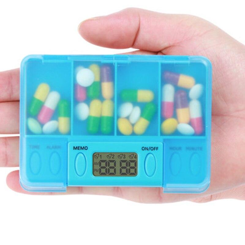 Новый Портативный 4 Grid умный электронный сроки pill случае будильника таблетки напоминание коробка для хранения медицины, Бесплатная доставк...