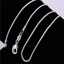 TJP 3pcs 1MM Silver Snake Chain Necklaces Fashion Jewelry Single Bone 16-24 Inchs for Woman Man Gifts