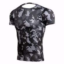 Rashgard Mens Sport Running T Shirt Men Camouflage Gym Fitness MMA Training Shirts Dry Fit Sportswear Top Soccer Jerseys