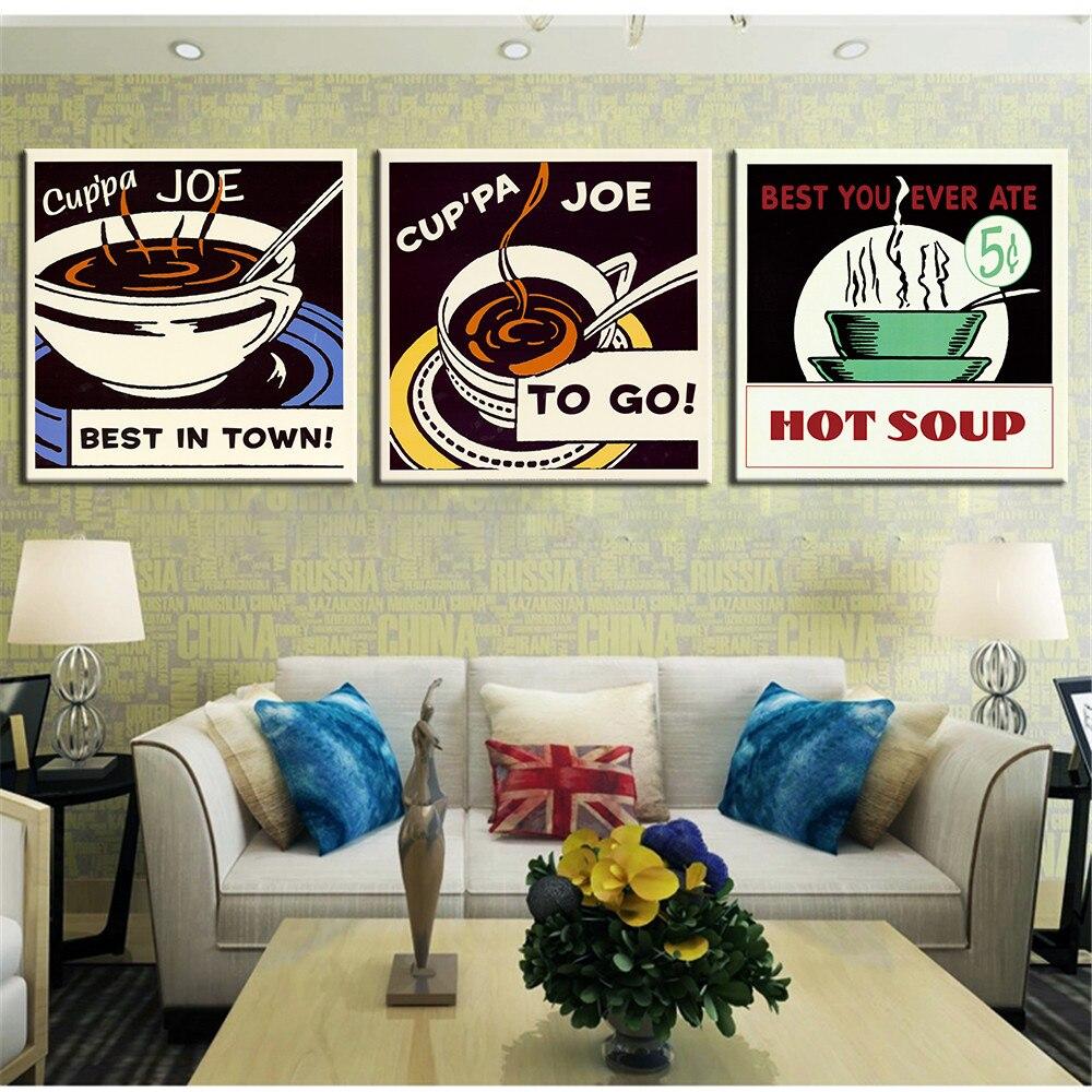 ᐃ3 panel lienzo impreso pintura de aceite de café cocina Naturaleza ...