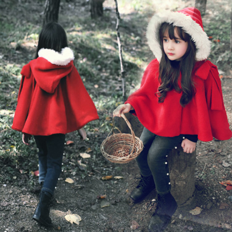 Winter Spring Brand Kids Baby Cape Red Cotton Hooded Warm Girls ...