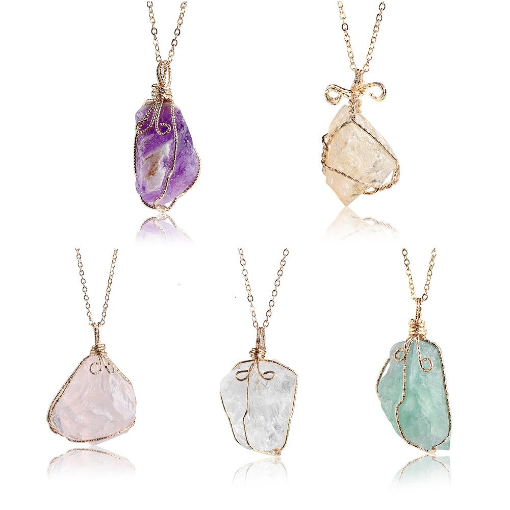 1pc Handmade Rainbow Stone Pendant Necklace For Women