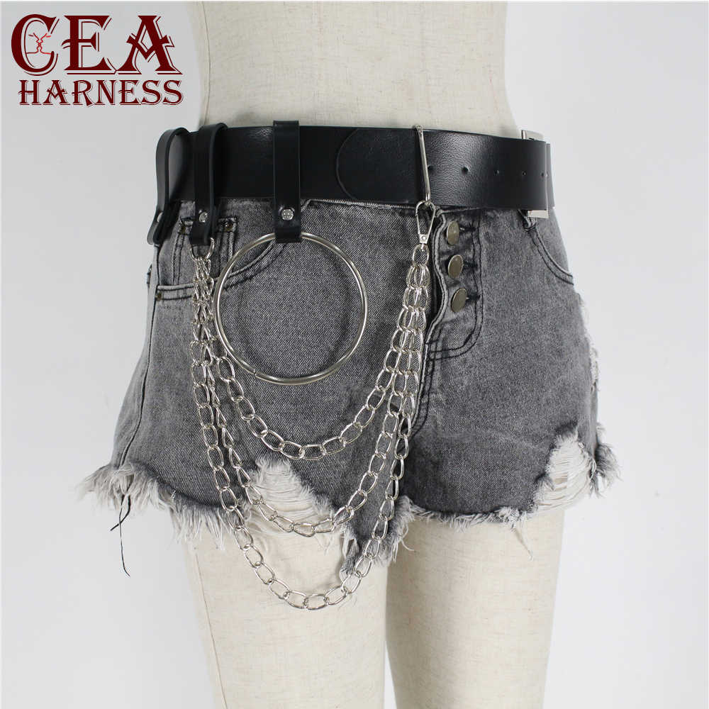 CEA.HARNESS Pu Leather Waist Harness Multi-Chain Belt Pastel Goth Punk Rave Harajuku Sexy Bdsm Women Sexy Erotic Outfits