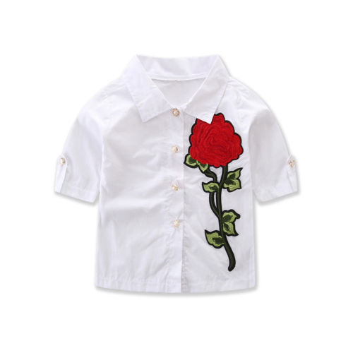 11e9ddf823358 Fashion Baby Girls Summer Short Sleeve Outfits Clothes Rose Print Tops  Toddler Kids
