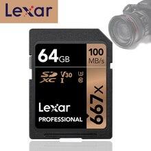 Lexar 667x 메모리 sd 플래시 카드 64gb u3 sdxc UHS I 카드 디지털 slr/hd 카메라 용 고속 100 메가바이트/초 cartao de memoria carte sd