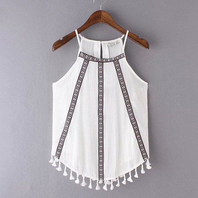 Women Folk Embroidered Cami Vest Tops Shirt With Fringes Hem 2016 New